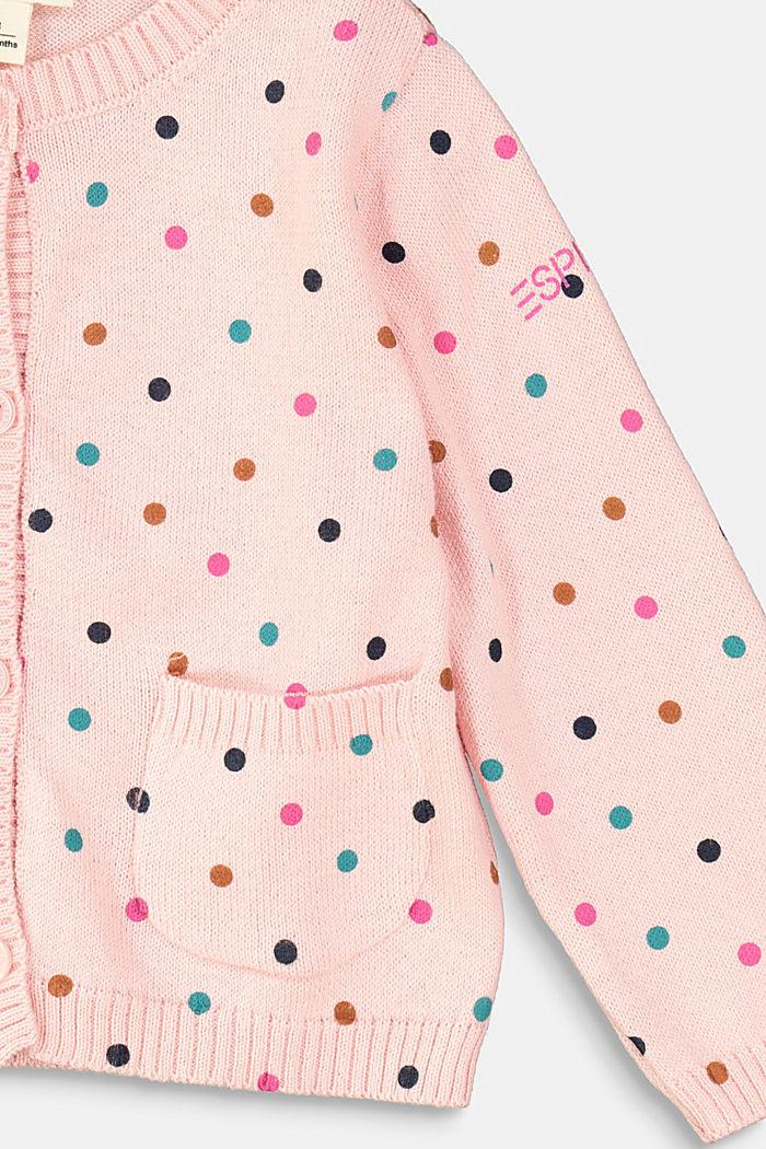 Cardigan med prikker, 100% økologisk bomuld, LIGHT PINK, detail image number 2