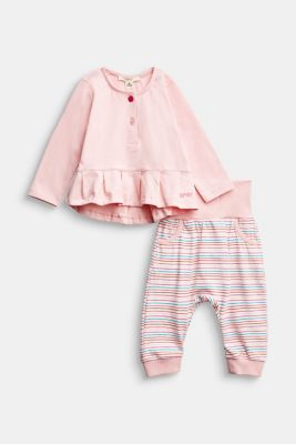 Set: top and trousers, organic cotton, LIGHT PINK, detail