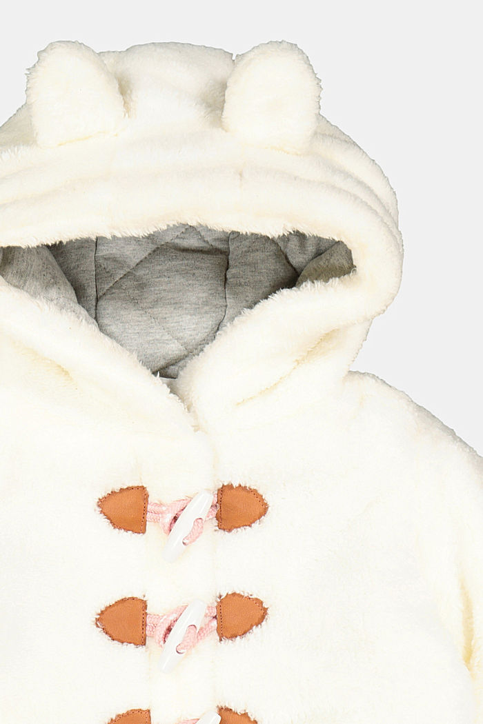 Duffle coat made of teddy plush, OFF WHITE, detail image number 2