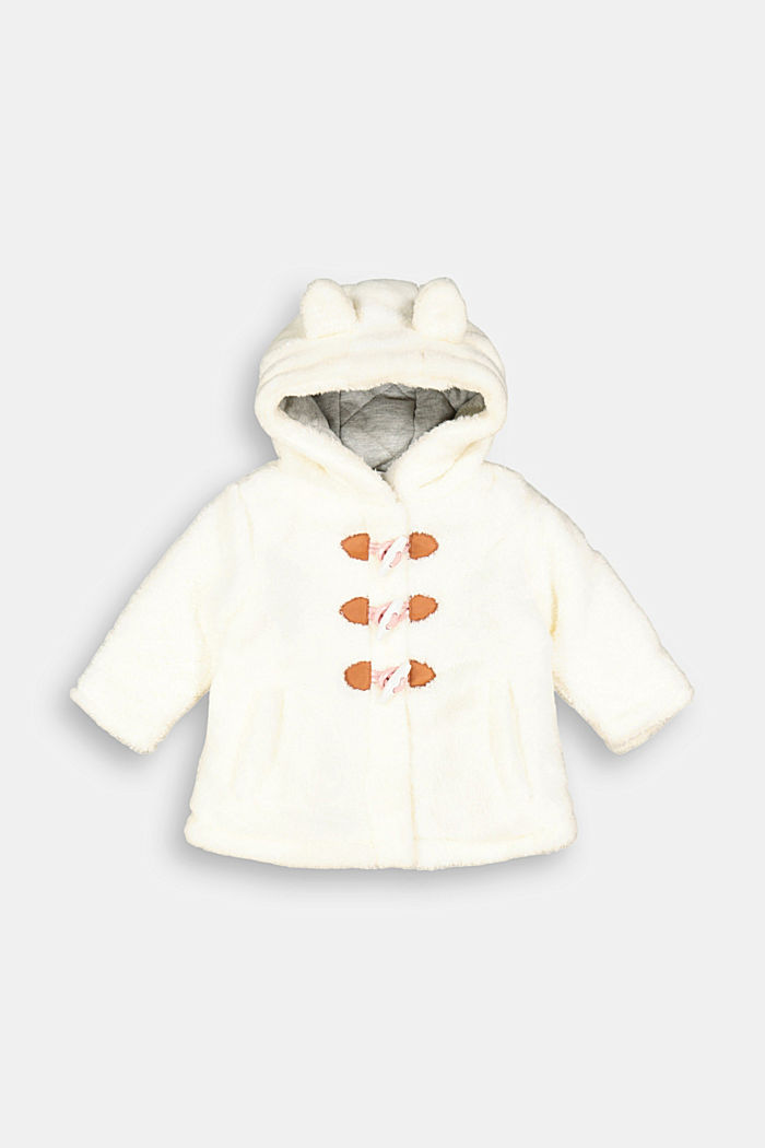 Duffle coat made of teddy plush, OFF WHITE, overview
