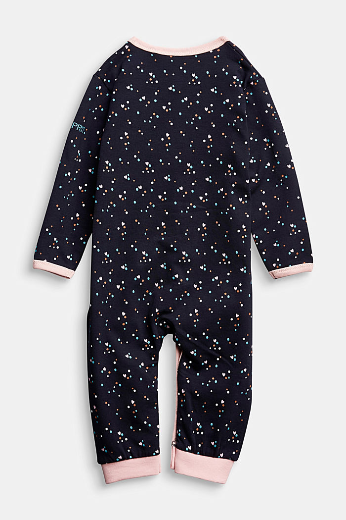 Jumpsuit with print and organic cotton, NAVY, detail image number 1