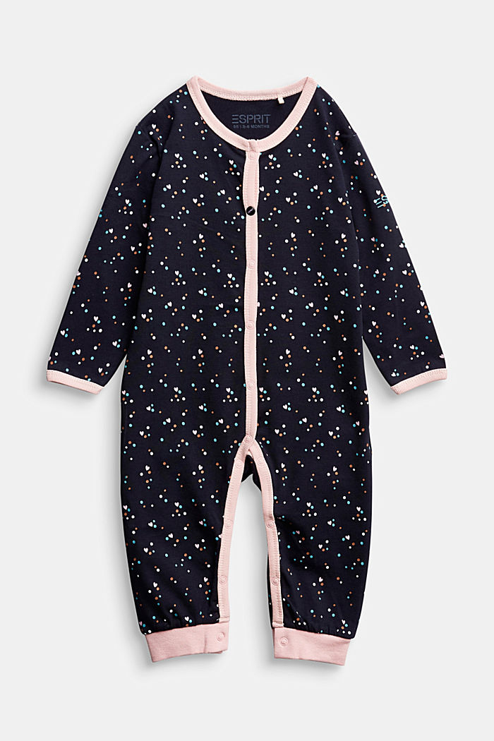 Jumpsuit with print and organic cotton, NAVY, detail image number 0