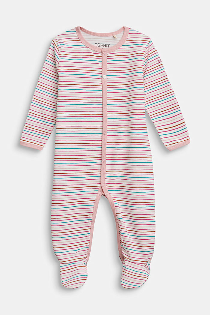 Striped romper suit, organic cotton, OFF WHITE, detail image number 0