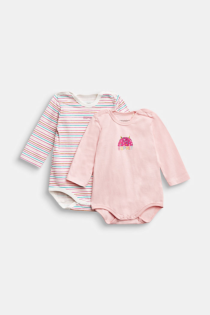 2-pack of bodysuits, organic cotton, LIGHT PINK, overview