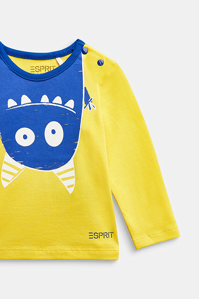 Long sleeve T-shirt with monster print, organic cotton, YELLOW, detail image number 2