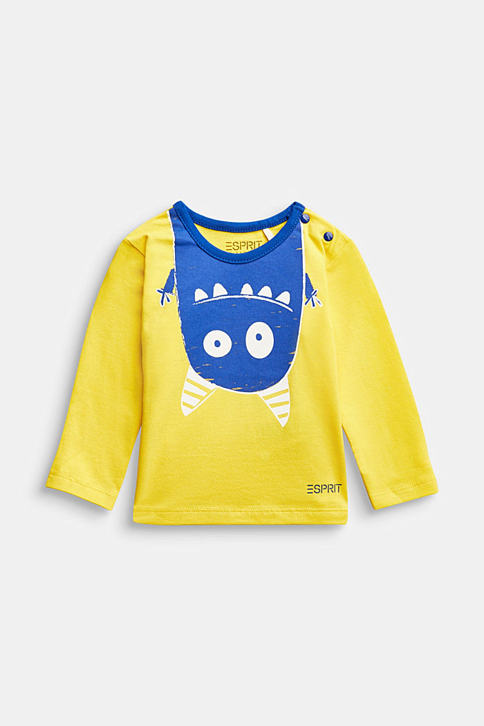 Long sleeve T-shirt with monster print, organic cotton, YELLOW, detail image number 0