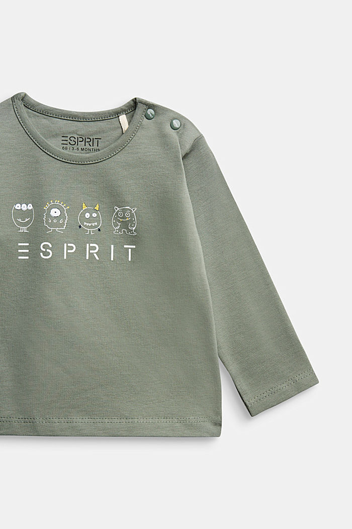 Long sleeve print T-shirt, organic cotton, DUSTY GREEN, detail image number 2