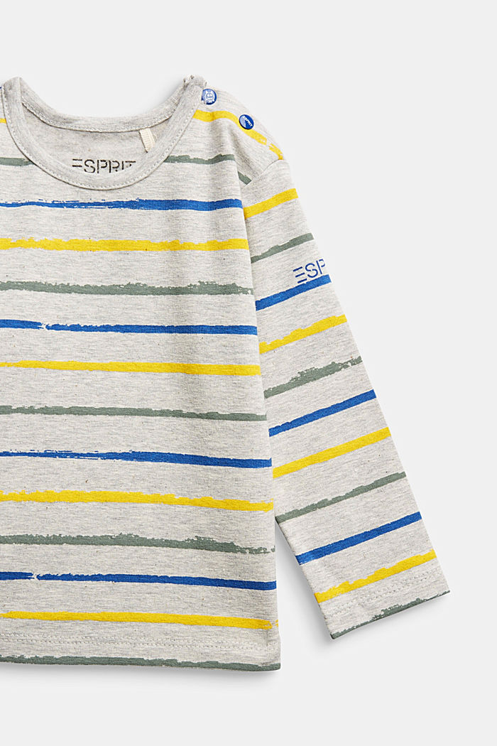 Striped long sleeve top, organic cotton, MEDIUM GREY, detail image number 2