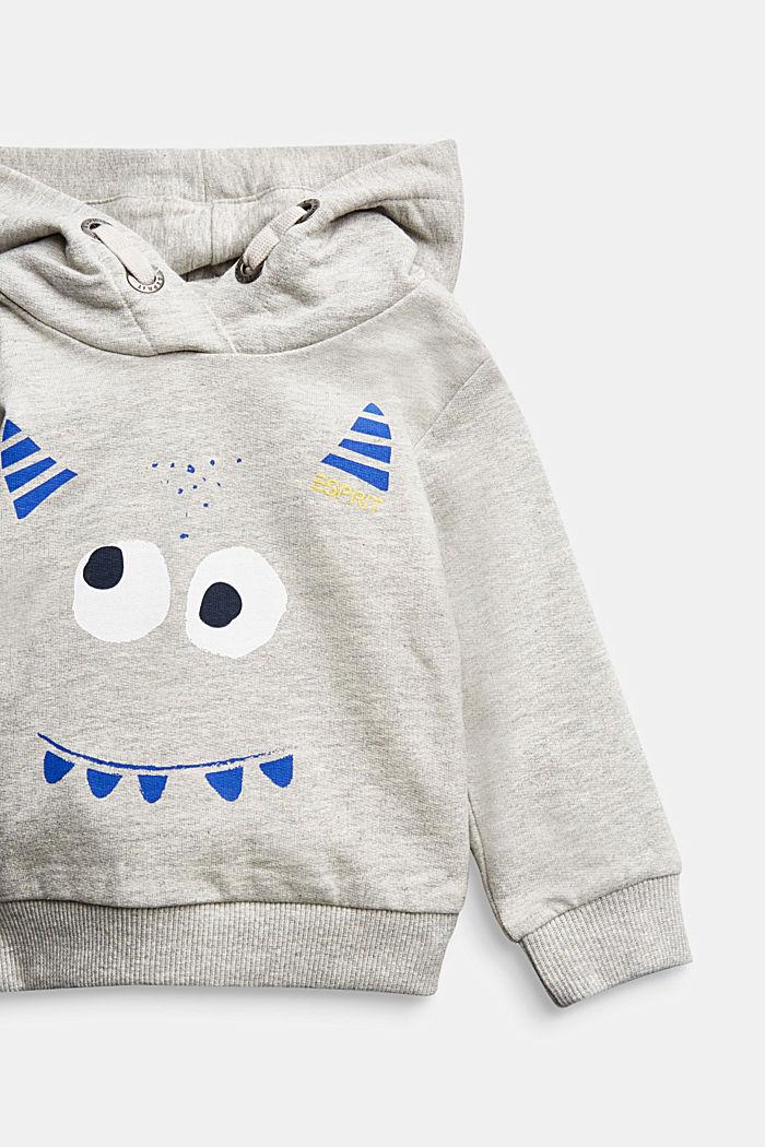 Monster print hoodie, 100% organic cotton, MEDIUM GREY, detail image number 2
