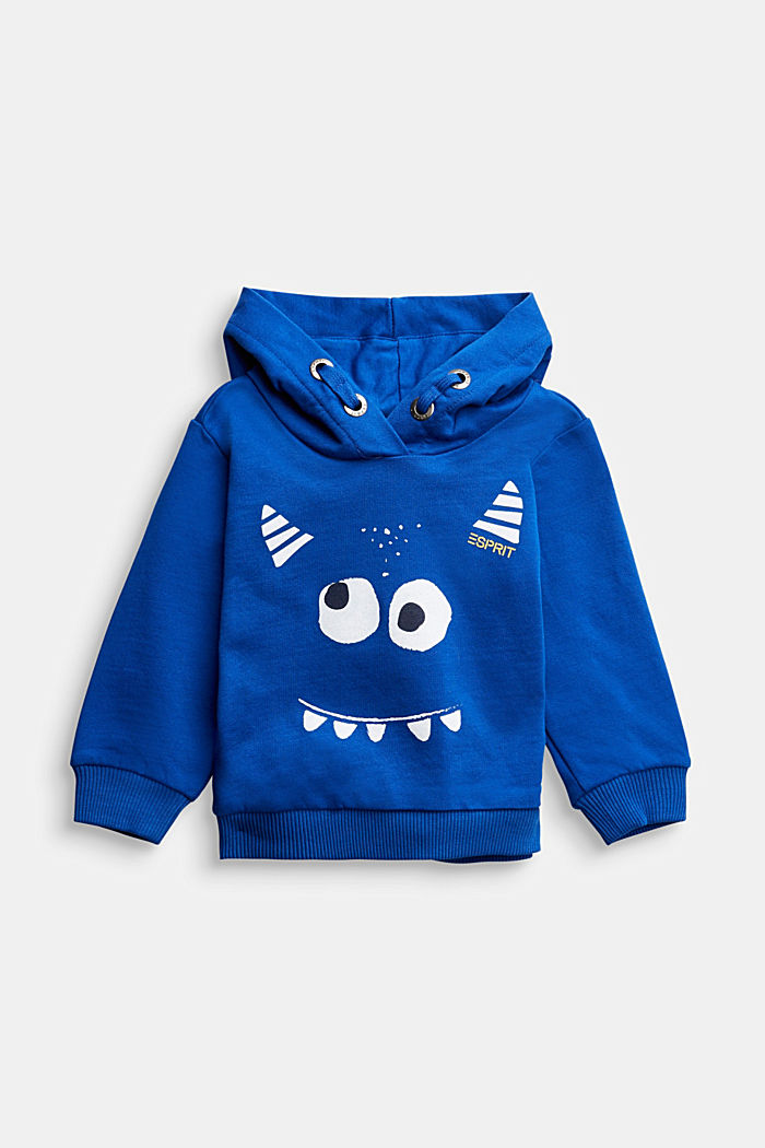 Monster print hoodie, 100% organic cotton, BRIGHT BLUE, detail image number 0