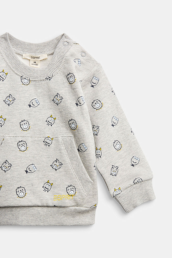 Monster print sweatshirt, organic cotton, MEDIUM GREY, detail image number 2
