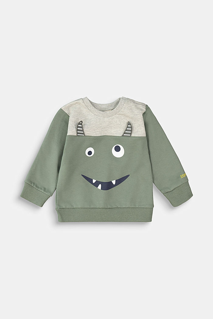 Monster-Sweatshirt aus 100% Bio-Baumwolle, DUSTY GREEN, detail image number 0