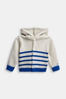 Knitted cardigan made of 100% organic cotton, MEDIUM GREY, detail