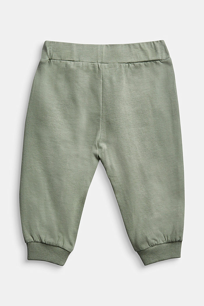 Tracksuit bottoms in organic cotton, DUSTY GREEN, detail image number 1
