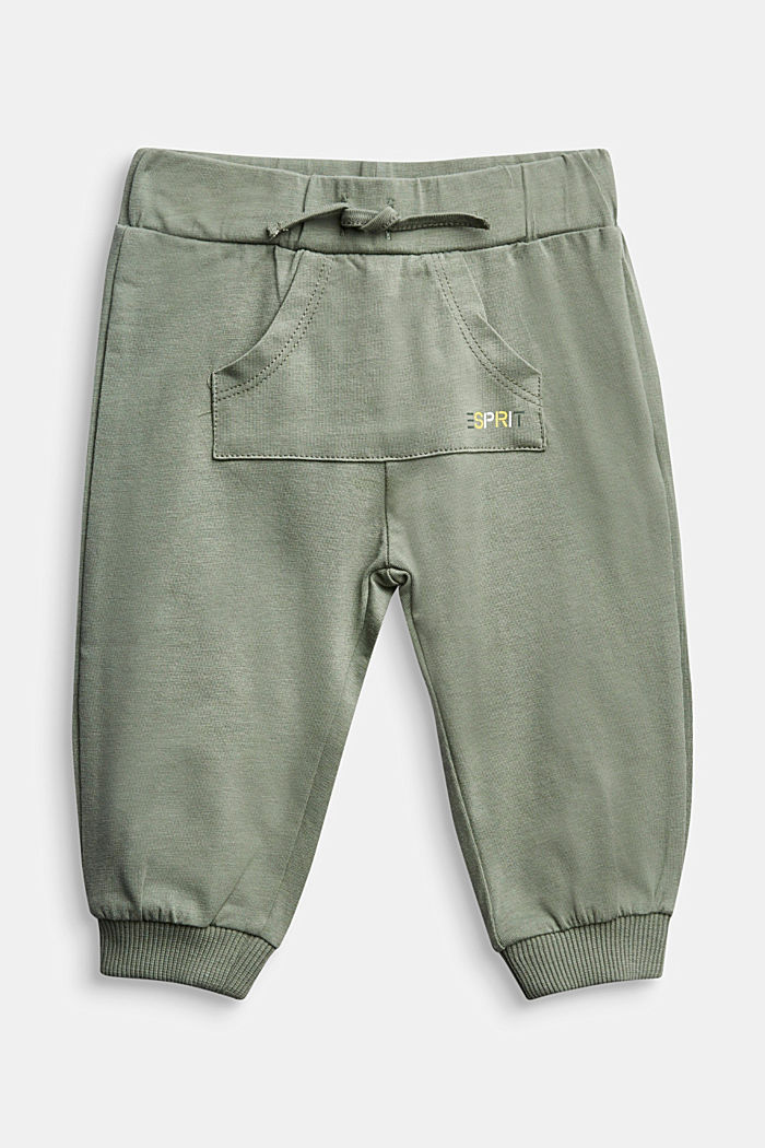 Tracksuit bottoms in organic cotton, DUSTY GREEN, detail image number 0