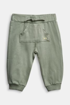 Tracksuit bottoms in organic cotton, DUSTY GREEN, detail