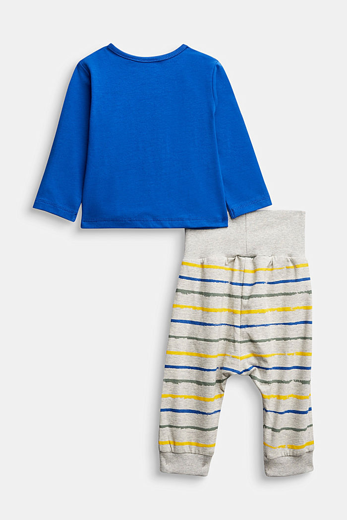Set: top and trousers, organic cotton, BRIGHT BLUE, detail image number 1