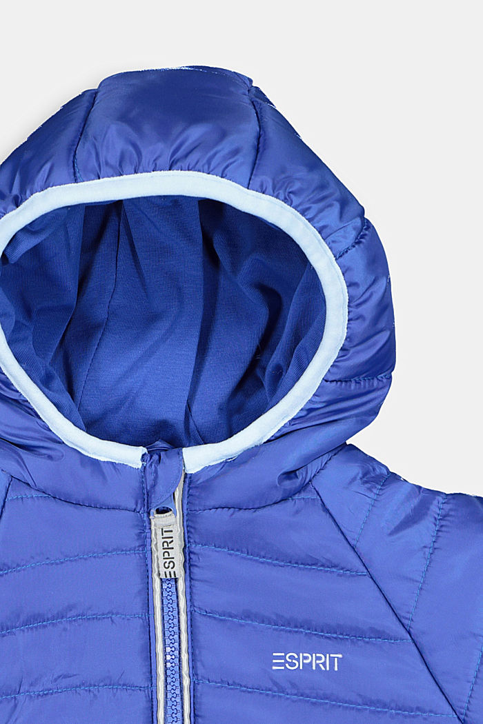 Quilted jacket with a hood, BRIGHT BLUE, detail image number 2