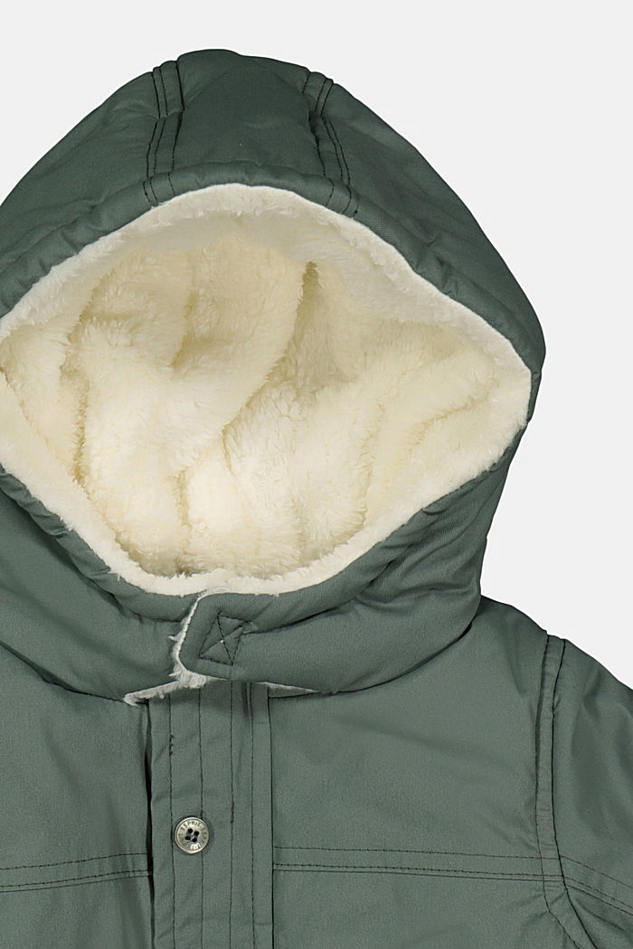 Padded parka with a faux fur hood, DUSTY GREEN, detail image number 2