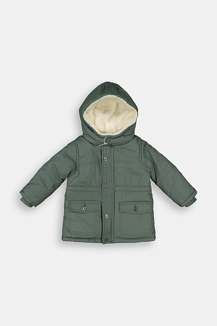 Padded parka with a faux fur hood, DUSTY GREEN, detail image number 0