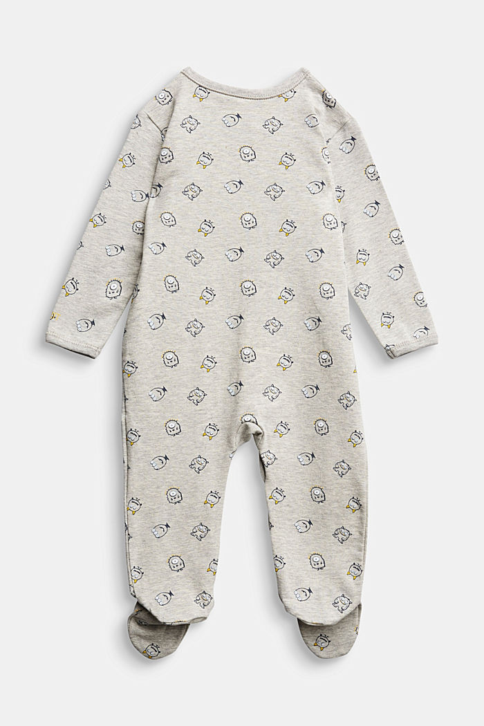 Monster print romper suit, organic cotton, MEDIUM GREY, detail image number 1