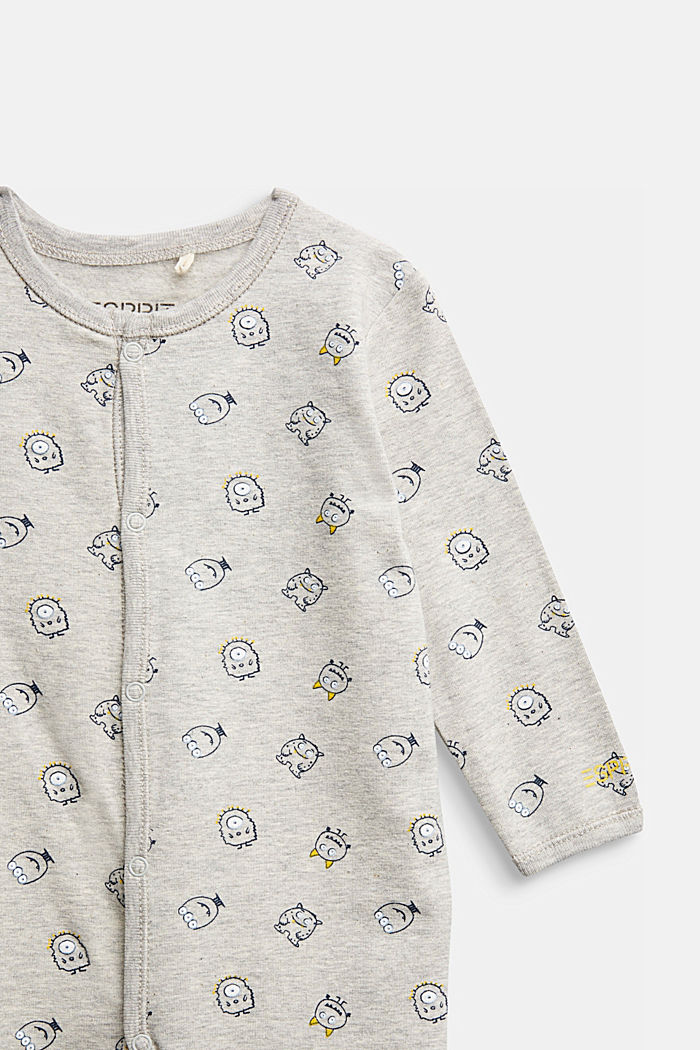 Monster print romper suit, organic cotton, MEDIUM GREY, detail image number 2
