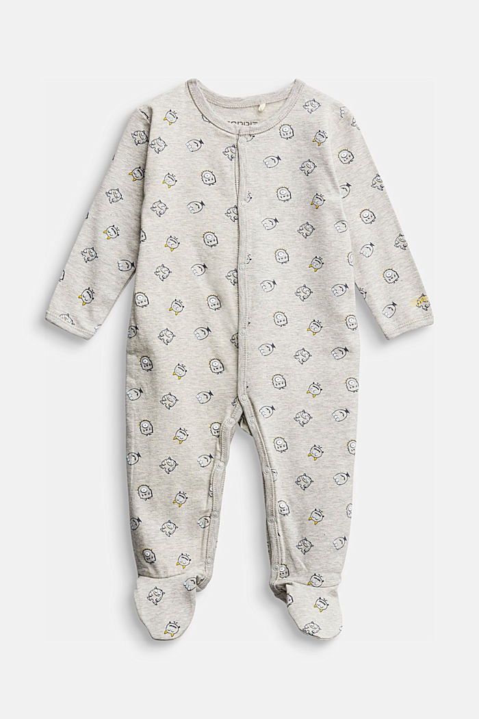 Monster print romper suit, organic cotton, MEDIUM GREY, detail image number 0