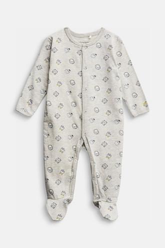 Monster print romper suit, organic cotton
