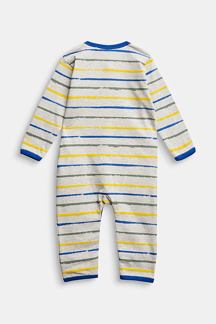 Striped romper suit, organic cotton, MEDIUM GREY, detail image number 1