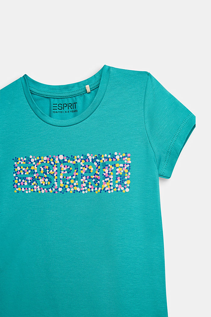 T-shirt with a colourful logo print, 100% cotton, TEAL GREEN, detail image number 2