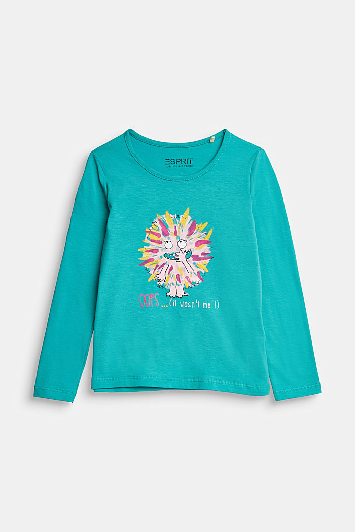 Long sleeve top with a varying print, TEAL GREEN, detail image number 0