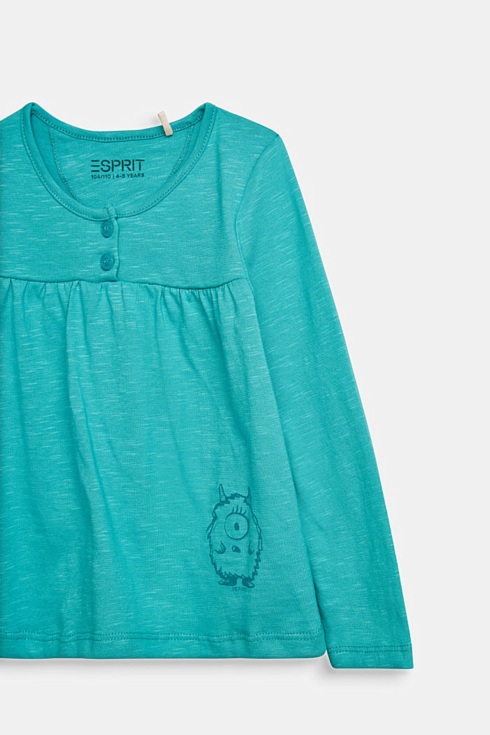 Printed long sleeve top, 100% cotton, TEAL GREEN, detail image number 2