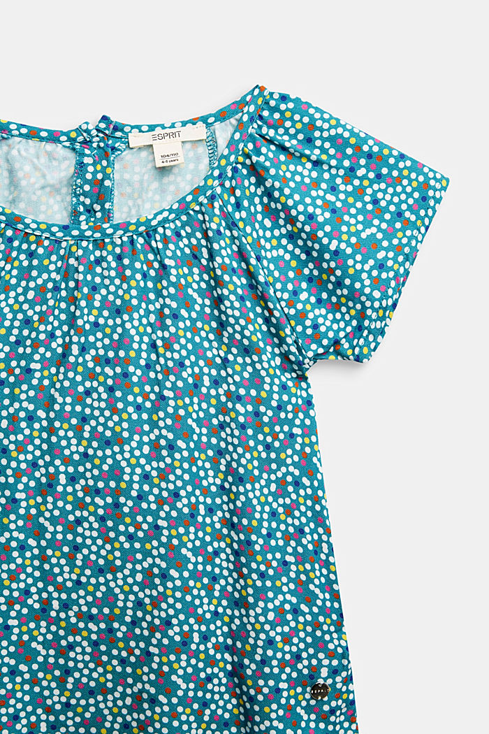 Blouse top with a polka dot print, DARK TEAL GREEN, detail image number 2