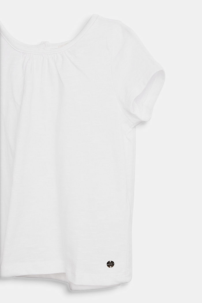 Blusa in jersey e stoffa, 100% cotone, WHITE, detail image number 2