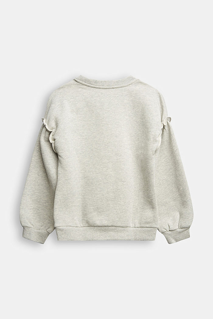 Sweatshirt with frills, 100% cotton, MEDIUM GREY, detail image number 1
