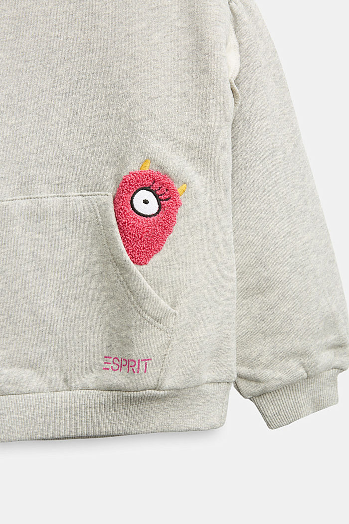 Sweatshirt mit Rüschen, 100% Baumwolle, MEDIUM GREY, detail image number 2
