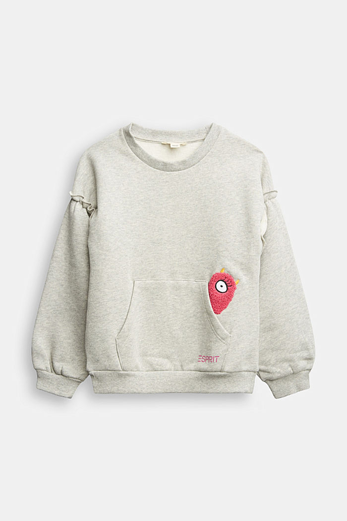 Sweatshirt with frills, 100% cotton, MEDIUM GREY, detail image number 0