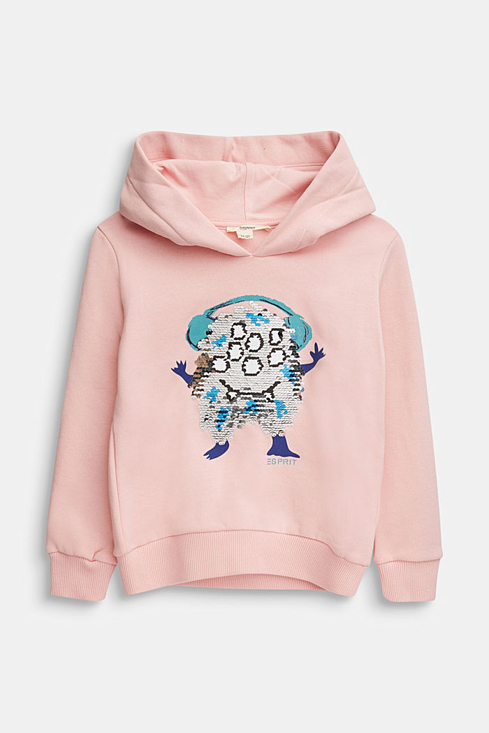 Sweatshirt with a print or reversible sequins, LIGHT PINK, detail image number 0