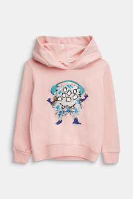 Sweatshirt with a print or reversible sequins, LIGHT PINK, detail