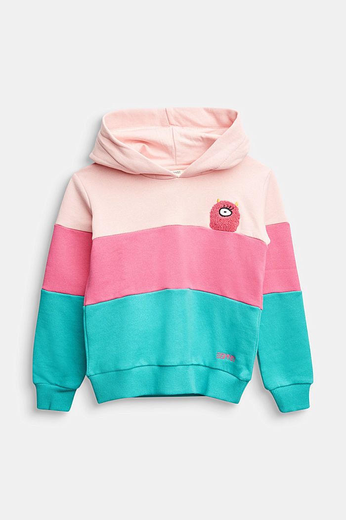 Colour block sweatshirt, 100% cotton, LIGHT PINK, detail image number 0