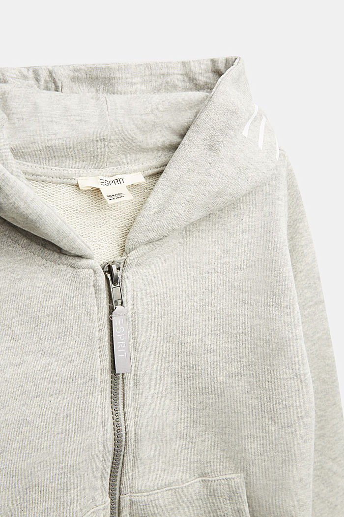 Sweatshirt cardigan with hood, 100% cotton, MEDIUM GREY, detail image number 2