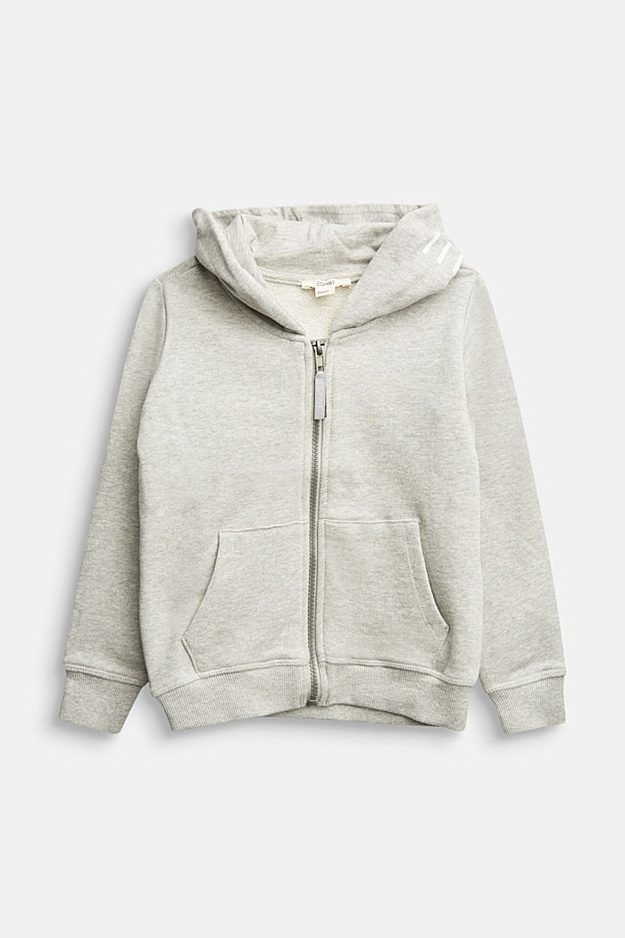 Sweatshirt cardigan with hood, 100% cotton