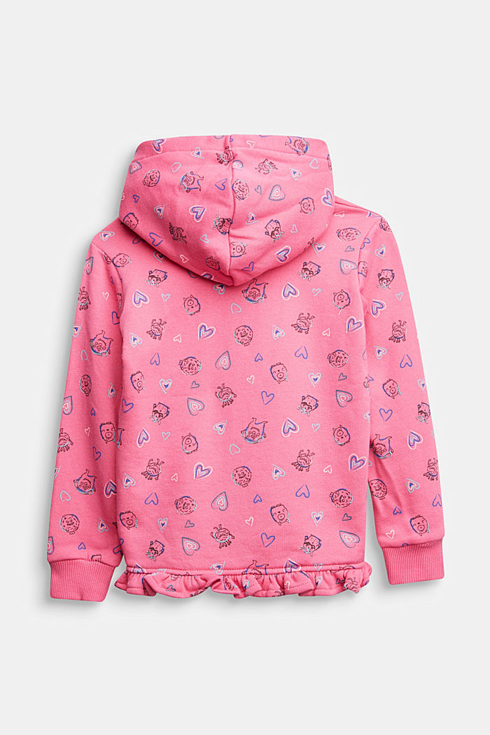 Sweatshirt cardigan with print, 100% cotton