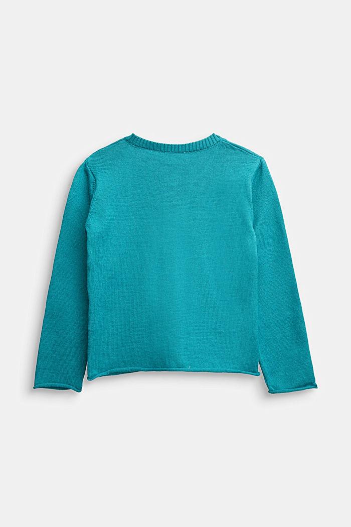 Basic cardigan in 100% cotton, DARK TEAL GREEN, detail image number 1
