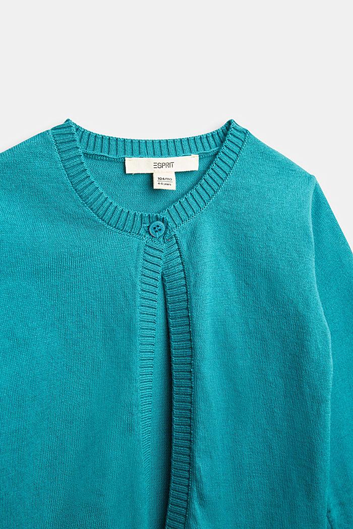 Basic cardigan in 100% cotton, DARK TEAL GREEN, detail image number 2