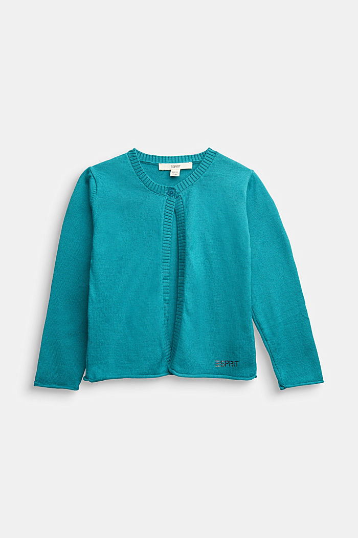 Basic cardigan in 100% cotton, DARK TEAL GREEN, detail image number 0