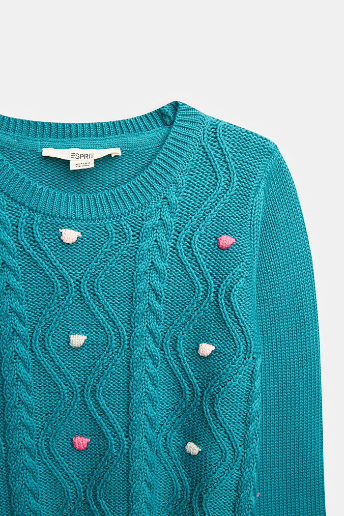 Cable knit jumper in 100% cotton, DARK TEAL GREEN, detail image number 2