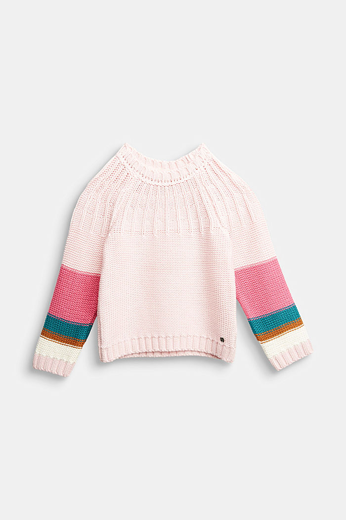 Pullover mit Colorblock-Streifen, LIGHT PINK, overview