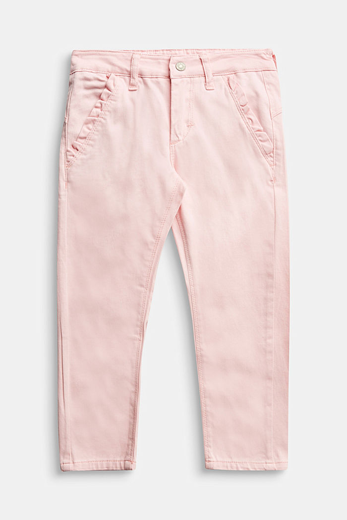 Stretch cotton trousers, LIGHT PINK, detail image number 0