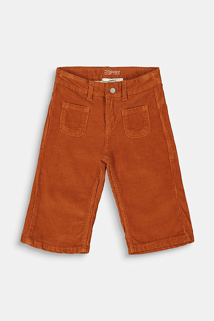Corduroy culottes with adjustable waistband, RUST BROWN, detail image number 0